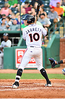 Northern Divisions left fielder Zach Jarrett (10) of the Delmarva Shorebirds awaits a pitch during the South Atlantic League All Star Game at First National Bank Field on June 19, 2018 in Greensboro, North Carolina. The game Southern Division defeated the Northern Division 9-5. (Tony Farlow/Four Seam Images)