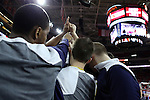25 January 2015: Notre Dame players huddle before the game. The North Carolina State University Wolfpack played the University of Notre Dame Fighting Irish in an NCAA Division I Men's basketball game at the PNC Arena in Raleigh, North Carolina. Notre Dame won the game 81-78 in overtime.