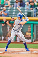 Billy Burns (14) of the Omaha Storm Chasers at bat against the Salt Lake Bees in Pacific Coast League action at Smith's Ballpark on May 8, 2017 in Salt Lake City, Utah. Salt Lake defeated Omaha 5-3. (Stephen Smith/Four Seam Images)