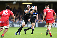 Dave Attwood of Bath Rugby receives the ball. Heineken Champions Cup match, between Bath Rugby and Stade Toulousain on October 13, 2018 at the Recreation Ground in Bath, England. Photo by: Patrick Khachfe / Onside Images