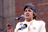Eleanor Smeal, feminist activist former President of NOW and Founder of the Feminist Majority Foundation, speaking at Pro Choice Rally Boston MA October 18, 1986