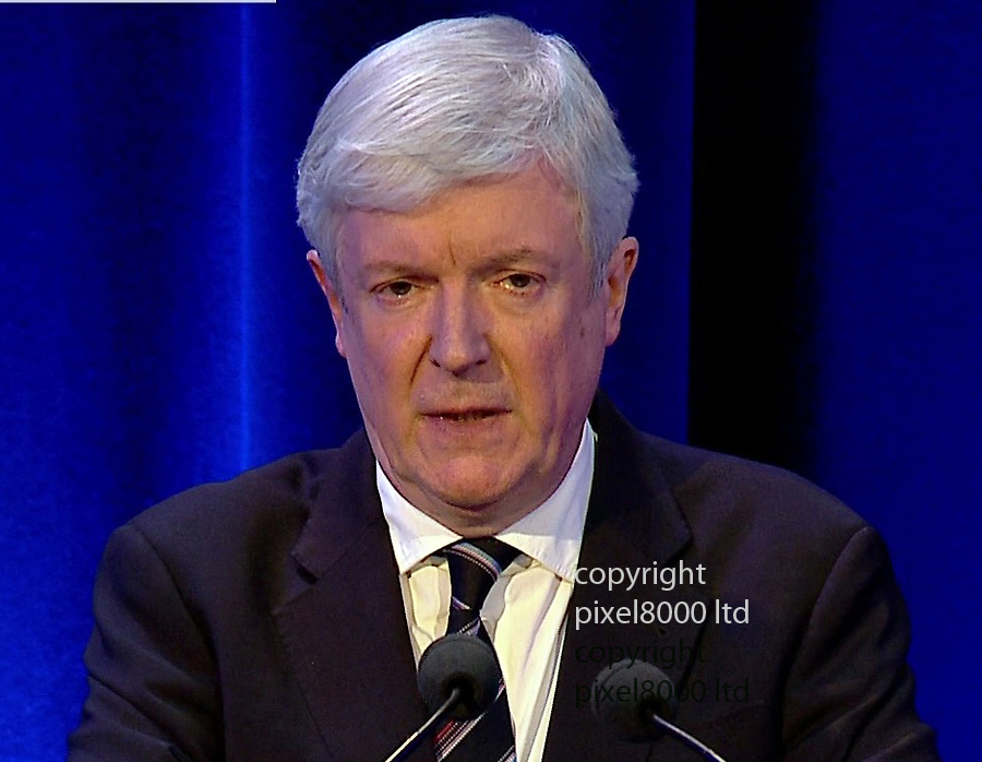 Pic shows: Director General of the BBC Tony Hall addresses the room after<br /> <br /> Dame Janet Smith press conference today in which she answered questions on her report on the BBC Jimmy Savile affair<br /> <br /> <br /> <br /> Picture by Pixel8000 07917221968