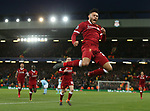 Alex Oxlade-Chamberlain of Liverpool jumps up to Celebrate scoring the second goal during the Champions League Quarter Final 1st Leg, match at Anfield Stadium, Liverpool. Picture date: 4th April 2018. Picture credit should read: Simon Bellis/Sportimage