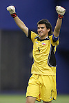 15 July 2007: Chile goalkeeper Cristopher Toselli celebrates the victory. Chile's Under-20 Men's National Team defeated Nigeria's Under-20 Men's National Team 4-0 after extra time in a  quarterfinal match at Olympic Stadium in Montreal, Quebec, Canada during the FIFA U-20 World Cup Canada 2007 tournament.