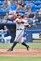 Rome Braves right fielder Anthony Concepcion (23) swings at a pitch during a game against the Asheville Tourists at McCormick Field on June 24, 2017 in Asheville, North Carolina. The Tourists defeated the Braves 6-5. (Tony Farlow/Four Seam Images)