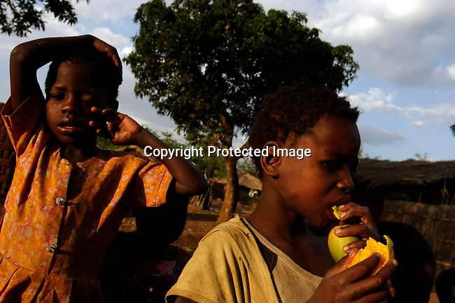 Barn ater omogna mangos i en liten by utanfor Blantyre, Malawi.