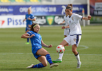 20180305 - LARNACA , CYPRUS : Italian Greta Adami (right) pictured being tackled by Finnish Olga Ahtinen during a women's soccer game between Finland and Italy , on monday 5 March 2018 at the AEK Arena in Larnaca , Cyprus . This is the third game in group A for Finland and Italy during the Cyprus Womens Cup , a prestigious women soccer tournament as a preparation on the World Cup 2019 qualification duels. PHOTO SPORTPIX.BE | DAVID CATRY
