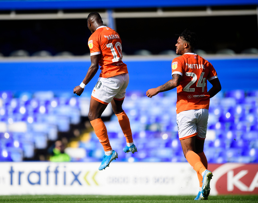 Blackpool's Sullay Kaikai, left, celebrates scoring his side's second goal with team-mate Joe Nuttall<br /> <br /> Photographer Chris Vaughan/CameraSport<br /> <br /> The EFL Sky Bet League One - Coventry City v Blackpool - Saturday 7th September 2019 - St Andrew's - Birmingham<br /> <br /> World Copyright © 2019 CameraSport. All rights reserved. 43 Linden Ave. Countesthorpe. Leicester. England. LE8 5PG - Tel: +44 (0) 116 277 4147 - admin@camerasport.com - www.camerasport.com