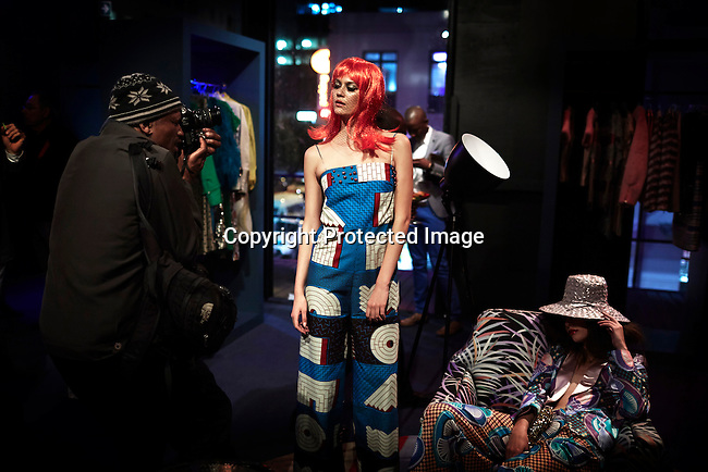 CAPE TOWN, SOUTH AFRICA - JULY 26: A model is photographed during an installation show at the new Klûk CGDT flagship store during Mercedes-Benz Fashion Week on July 26, 2014, in Cape Town, South Africa. Klûk CGDT, created by the designers Malcolm KLûK and Christiaan Gabriel Du Toit. The elite of Cape Town came out for the launch of the store and the late night party. (Photo by Per-Anders Pettersson)