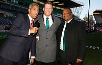 Jeremy Guscott rugby commentator with Jean de Villiers rugby commentator and Xola Ntshinga Supersport rugby commentator during the 2018 Castle Lager Incoming Series 2nd Test match between South Africa and England at the Toyota Stadium.Bloemfontein,South Africa. 16,06,2018 Photo by Steve Haag / stevehaagsports.com