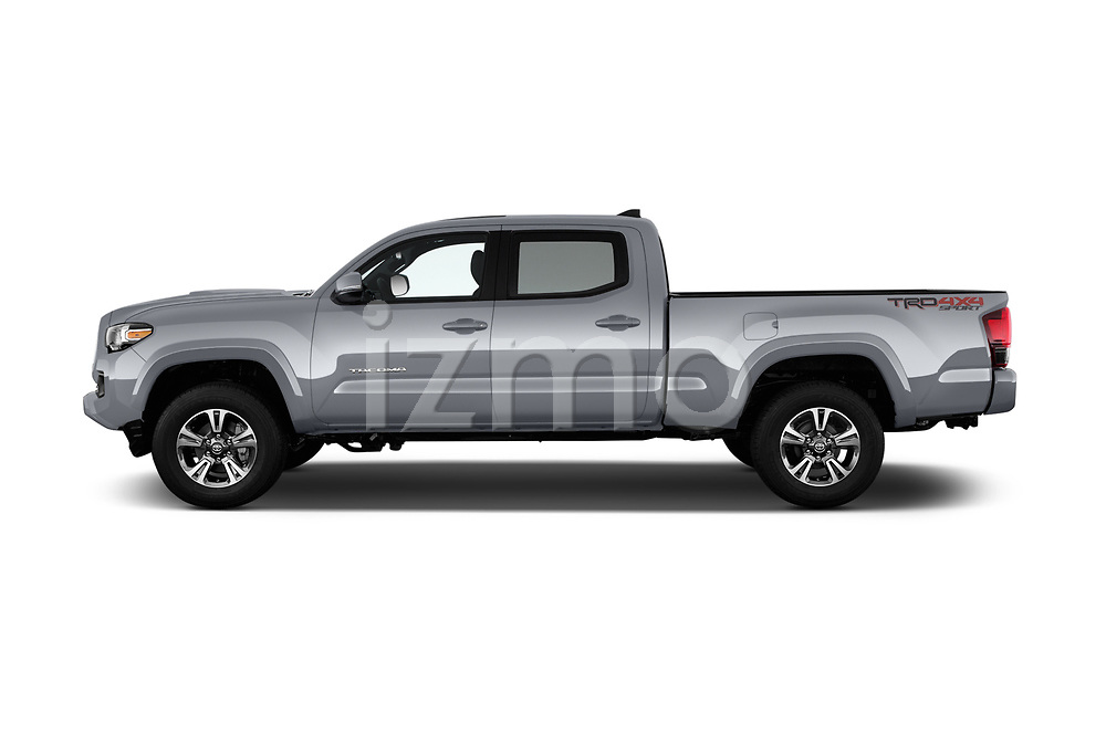 Car driver side profile view of a 2018 Toyota Tacoma TRD Sport Double Cab 4 Door Pick Up