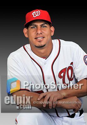 25 February 2011: Wilson Ramos poses for his Washington Nationals Photo Day portrait at Space Coast Stadium in Viera, Florida. Mandatory Credit: Ed Wolfstein Photo
