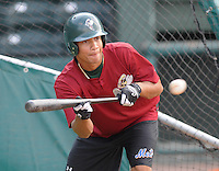 May 27, 2008: Infielder Carlos Guzman (13) of the Savannah Sand Gnats, Class A affiliate of the New York Mets, prior to a game against the Greenville Drive at Fluor Field at the West End in Greenville, S.C. Photo by:  Tom Priddy/Four Seam Images