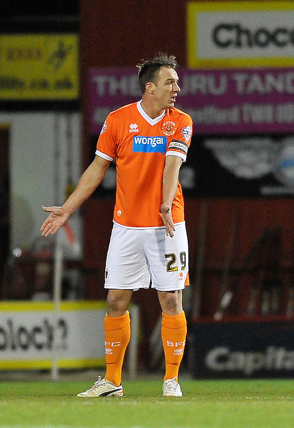 Blackpool's Anthony McMahon shouts instructions after falling behind 1-0<br /> <br /> Photographer Ashley Western/CameraSport<br /> <br /> Football - The Football League Sky Bet League One - Brentford v Blackpool - Tuesday 24th February 2015 - Griffin Park - London<br /> <br /> &copy; CameraSport - 43 Linden Ave. Countesthorpe. Leicester. England. LE8 5PG - Tel: +44 (0) 116 277 4147 - admin@camerasport.com - www.camerasport.com