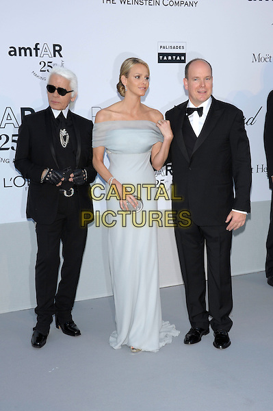 KARL LARGERFELD, CHARLENE WITTSTOCK & PRINCE ALBERT II OF MONACO.amfAR's Cinema Against AIDS Gala during the 64th Annual Cannes Film Festival at Hotel Du Cap, Antibes, France. .May 19th, 2011.full length couple fiancee grey gray blue off the shoulders long maxi dress black tuxedo tux bow tie sunglasses gloves shades .CAP/PL.©Phil Loftus/Capital Pictures.