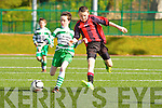 Daniel O'Mahony Mastergeeha and Micheal Devlin Killarney Celtic tussle for possession  during their u12 league game in Killarney on Saturday
