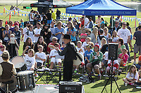DeAnza Cove, Mission Bay, San Diego CA, USA.  Sunday, January 25 2015:  The Rubber Band provides entertainment during the  Friends of Pacific Beach Schools (FOPBS) School Yard Dash.  The 2nd annual charity event which raises money for the six local schools in the Mission Bay Cluster, comprised of a 1-mile run for kids followed by a 5K run for all ages.  Besides parents, teachers, staff, students and siblings competitors from all over San Diego and abroad ran in the event.  All six schools in the Mission Bay cluster had information booths at the event for potential parents to meet and speak with staff and students.  Music was provided by local teenage band Rubber Band and the string ensemble from Crown Point Elementary School.