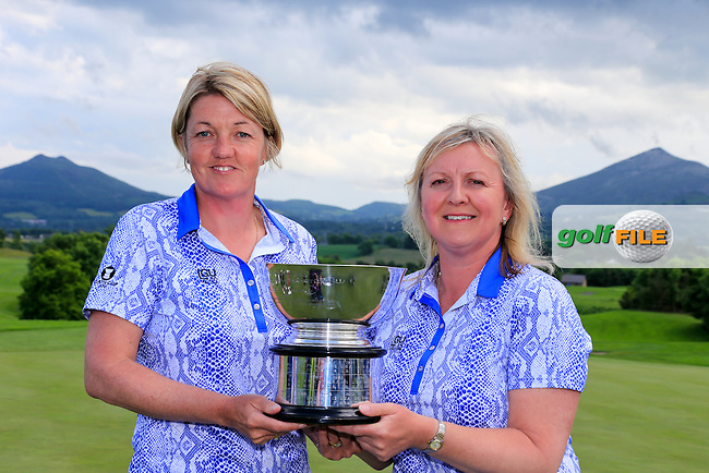 GB &amp; I Team Manager Helen Hewlett and Captain Elaine Farquharson-Black with the trophy after the Sunday Singles matches at the 2016 Curtis cup from Dun Laoghaire Golf Club, Ballyman Rd, Enniskerry, Co. Wicklow, Ireland. 12/06/2016.<br /> Picture Fran Caffrey / Golffile.ie<br /> <br /> All photo usage must carry mandatory copyright credit (&copy; Golffile | Fran Caffrey)