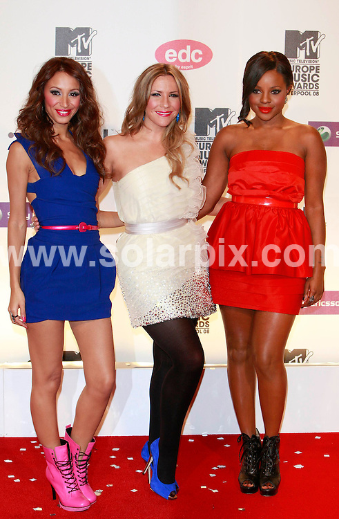 **ALL ROUND PICTURES FROM SOLARPIX.COM**.**SYNDICATION RIGHTS FOR UK AND SPAIN ONLY**.pictured at the MTV Europe Music Awards 2008 in Liverpool, UK. 6th November 2008..This pic: Sugababes..JOB REF: 7814 CPR (Heinz)       DATE: 06_11_2008.**MUST CREDIT SOLARPIX.COM OR DOUBLE FEE WILL BE CHARGED* *UNDER NO CIRCUMSTANCES IS THIS IMAGE TO BE REPRODUCED FOR ANY ONLINE EDITION WITHOUT PRIOR PERMISSION*