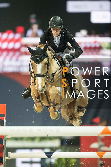 William Whitaker of United Kingdom riding Fento Chin S during the Hong Kong Jockey Club Trophy competition, part of the Longines Masters of Hong Kong on 10 February 2017 at the Asia World Expo in Hong Kong, China. Photo by Juan Serrano / Power Sport Images