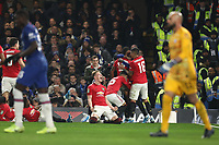30th October 2019; Stamford Bridge, London, England; English Football League Cup, Carabao Cup, Chelsea Football Club versus Manchester United; Scott McTominay of Manchester Utd celebrates the goal by Marcus Rashford for 1-2 in the 73rd minute - Strictly Editorial Use Only. No use with unauthorized audio, video, data, fixture lists, club/league logos or 'live' services. Online in-match use limited to 120 images, no video emulation. No use in betting, games or single club/league/player publications