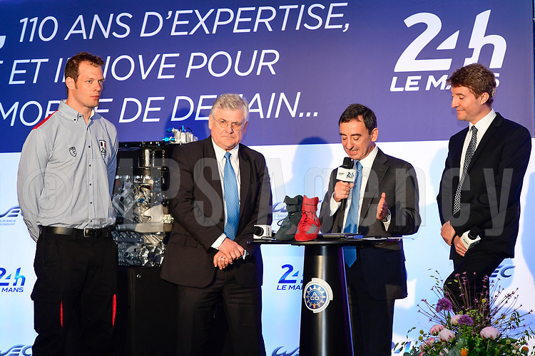 JACQUES NICOLET LAUREAT DU TROPHEE SPIRIT OF LE MANS ALEX WURZ GRAND MARSHALL DES 24 HEURES 2016 PIERRE FILLON (FRA) PRESIDENT AUTOMOBILE CLUB DE L'OUEST