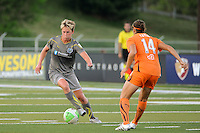 Joanna Lohman (17) of the Philadelphia Independence  is marked by Brittany Taylor (14) of Sky Blue FC. The Philadelphia Independence defeated Sky Blue FC 2-1 during a Women's Professional Soccer (WPS) match at John A. Farrell Stadium in West Chester, PA, on June 6, 2010.