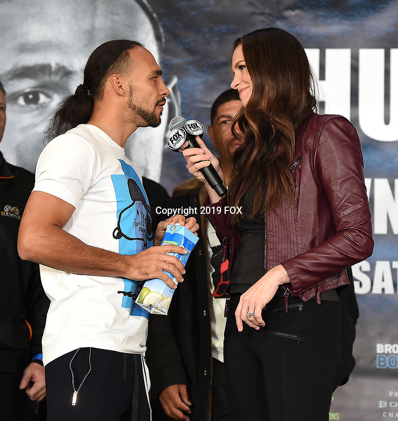 BROOKLYN - JANUARY 25: Boxer Keith Thurman interviewed by Fox Sports' Heidi Androl at the weigh-in for the January 26 PBC on FOX fight card at Barclays Arena on January 25, 2019, in Brooklyn, New York. (Photo by Frank Micelotta/Fox Sports/PictureGroup)
