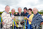 Mossie Dore, Jackie Brosnan, tommy connor, Pa Walsh, Brid Wrenn and john Clifford with the Sam Maguire at the opening of the Cordal GAA pitch on Sunday