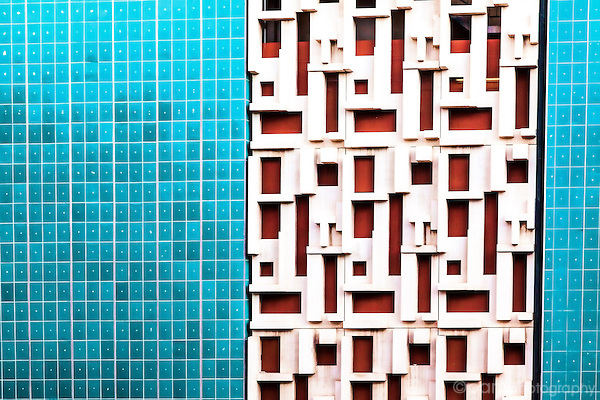 Geometric abstract of side of colorful builiding