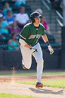 Ryder Jones (15) of the Augusta GreenJackets hustles down the first base line against the Hickory Crawdads at L.P. Frans Stadium on May 11, 2014 in Hickory, North Carolina.  The GreenJackets defeated the Crawdads 9-4.  (Brian Westerholt/Four Seam Images)