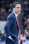 Olympiacos Piraeus coach Ioannis Sfairopoulos during Turkish Airlines Euroleague match between Real Madrid and Olympiacos Piraeus at Wizink Center in Madrid , Spain. February 09, 2018. (ALTERPHOTOS/Borja B.Hojas)