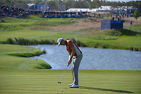Henrik Stenson (Team Europe) barely misses his putt on 10 during Saturday's foursomes of the 2018 Ryder Cup, Le Golf National, Guyancourt, France. 9/29/2018.<br /> Picture: Golffile | Ken Murray<br /> <br /> <br /> All photo usage must carry mandatory copyright credit (&copy; Golffile | Ken Murray)