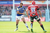 Jamie Roberts of Bath Rugby in possession. Gallagher Premiership match, between Gloucester Rugby and Bath Rugby on April 13, 2019 at Kingsholm Stadium in Gloucester, England. Photo by: Patrick Khachfe / Onside Images