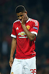Marcus Rashford of Manchester United dejected during the UEFA Europa League match at Old Trafford. Photo credit should read: Philip Oldham/Sportimage