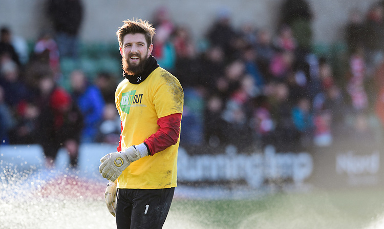 Lincoln City's Josh Vickers during the pre-match warm-up<br /> <br /> Photographer Chris Vaughan/CameraSport<br /> <br /> The EFL Sky Bet League Two - Lincoln City v Northampton Town - Saturday 9th February 2019 - Sincil Bank - Lincoln<br /> <br /> World Copyright © 2019 CameraSport. All rights reserved. 43 Linden Ave. Countesthorpe. Leicester. England. LE8 5PG - Tel: +44 (0) 116 277 4147 - admin@camerasport.com - www.camerasport.com