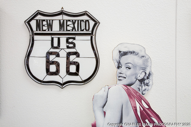 A cut out of Marilyn Monroe with a Route 66 sign at the Santa Rosa Route 66 Museum in Santa Rosa, New Mexico.