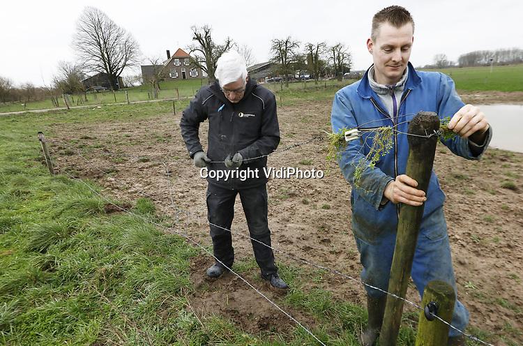 Foto: VidiPhoto<br /> <br /> AERDT – De maatschap van Sander Tiecken (met overall) en Herman Lucassen in de Gelderse Waard bij Aerdt is overgestapt naar biologische bedrijfsvoering. Boerderij en grond, die in een Natura 2000-gebied liggen, worden gepacht van de Stichting Twickel de Gelderse Waard. De boeren richten het gebied opnieuw in met heggen tussen de percelen, akkerranden met bloeiende bloemen en en kruidenrijk grasland. Dwars door het gebied loopt de Oude Rijn.