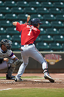 Ian Sagdal (1) of the Potomac Nationals at bat against the Winston-Salem Rayados at BB&T Ballpark on August 12, 2018 in Winston-Salem, North Carolina. The Rayados defeated the Nationals 6-3. (Brian Westerholt/Four Seam Images)