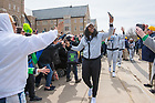 April 2, 2018; Arike Ogunbowale is greeted by fans as the Notre Dame women's basketball team arrives on campus Monday, following their win in the NCAA National Championship. (Photo by Barbara Johnston/University of Notre Dame)