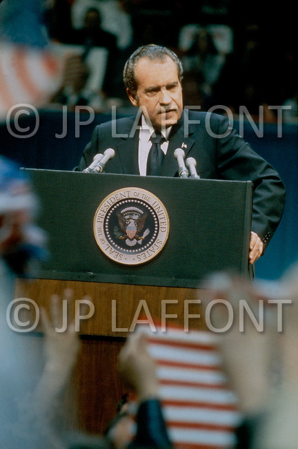 1973, Washington, DC, USA --- US President Richard Nixon - A break in at the Democratic National Committee headquarters at the Watergate complex on June 17, 1972 results in one of the biggest political scandals the US government has ever seen. Effects of the scandal ultimately led to the resignation of President Richard Nixon, on August 9, 1974, the first and only resignation of any U.S. President. --- Image by © JP Laffont/Sygma/Corbis