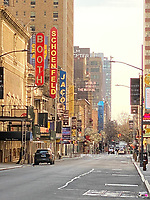 New York, New York City. An empty Broadway reflects the stay at home order due to Coronavirus.