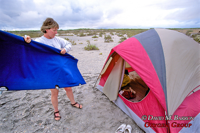 Beverly Hinchorek Putting Up Her Tent