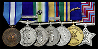 BNPS.co.uk (01202 558833)<br /> Pic: Spink&amp;Son/BNPS<br /> <br /> The bravery medals of a heroic SAS officer who went behind enemy lines in the Falklands War, supported missile hunting teams in Desert Storm and did multiple tours in Northern Ireland have emerged for auction and are tipped to sell for &pound;20,000.<br /> <br /> Warrant Officer David John Harvey, known to his friends as 'Dia', was awarded seven medals during his distinguished 26 year career in the army and SAS.  <br /> <br /> After 15 years in the army, he joined the SAS in August 1981 and with the advent of hostilities in the South Atlantic was deployed in a four-man patrol in the Falklands which undertook surveillance and carried out a selfless diversionary attack under heavy mortar fire at Port Stanley.<br /> <br /> In the Gulf War, he went undercover to replenish SCUD-hunting (tactical ballistic missiles) teams such as 'Bravo Two Zero'.<br /> <br /> The 66 year-old trained Oman's special forces in the 1990s and served on the security personnel of a British diplomat in Iraq at the dawn of the Iraq War in 2003 where he narrowly escaped death in a suicide bombing.<br /> <br /> WO Harvey has decided to auction his medals through London-based Spink &amp; Son, which will sell them on Wednesday.