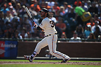 SAN FRANCISCO, CA - SEPTEMBER 17:  Brandon Crawford #35 of the San Francisco Giants bats against the Arizona Diamondbacks during the game at AT&T Park on Sunday, September 17, 2017 in San Francisco, California. (Photo by Brad Mangin)