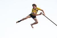 FIERLJEPPEN: BURGUM: 19-08-2019, Nationale Competitie, Reinier Overbeek juniorenrecord 21.38m, ©foto Martin de Jong