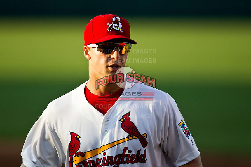 Kyle Conley (35) of the Springfield Cardinals runs back to the dugout during a game against the Arkansas Travelers at Hammons Field on May 5, 2012 in Springfield, Missouri. (David Welker/Four Seam Images)