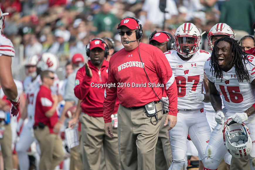 Wisconsin Badgers Head Coach Paul Chryst looks on during an NCAA college football game against the Michigan State Spartans Saturday, September 24, 2016, in East Lansing, Michigan.  (Photo by David Stluka)
