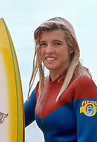 Pam Burridge (AUS) at the 1980 Rip Curl Pro at Bells Beach, Torquay, Victoria, Australia. Photo: joliphotos.com