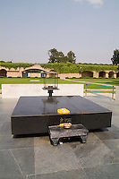 Grave of Gandhi 1948 memorial park where the  leaders ashes were buried in Raj Ghat, New Delhi, India